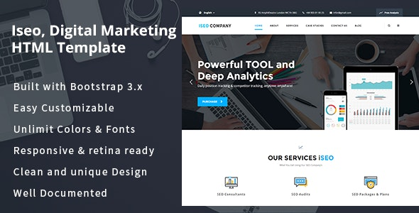 iSeo, Digital Marketing, Social Media HTML Template - Marketing Corporate