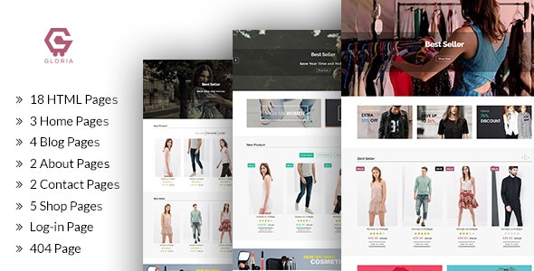 Gloria - Ecommerce Bootstrap Template - Retail Site Templates
