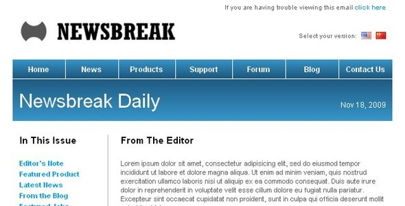 Newsbreak - Corporate Email Template - Newsletters Email Templates