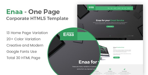 Corporate One Page HTML5 Template - Enaa - Corporate Site Templates