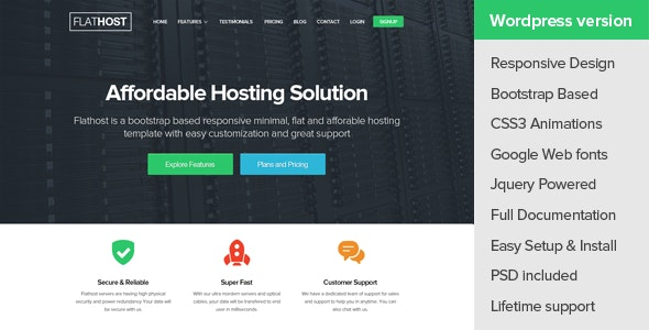 FlatHost WordPress Hosting Theme + WHMCS - Hosting Technology