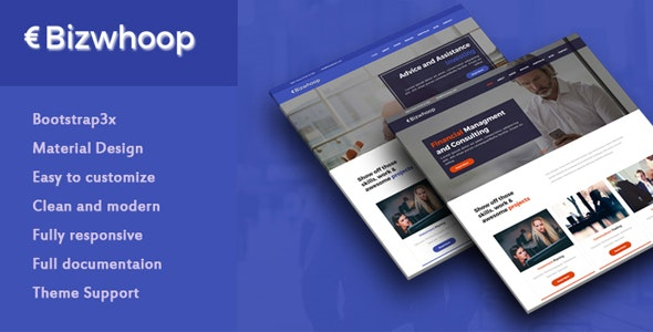 Bizwhoop Material Design Business HTML Template - Business Corporate