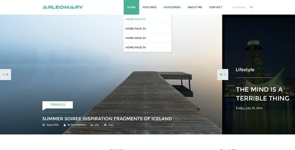 Arleomary - Travel/Lifestyle Blog - PSD Template