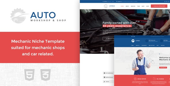 Auto Workshop and Shop - 4Wheels - Corporate Site Templates