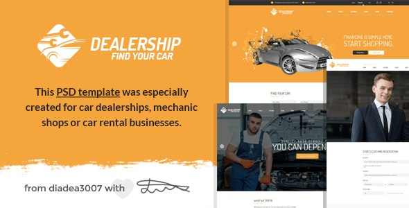 Dealership - Car, Mechanic & Rental PSD Template - Creative Photoshop