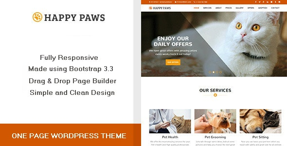 Happy Paws - One Page WordPress Theme - Business Corporate