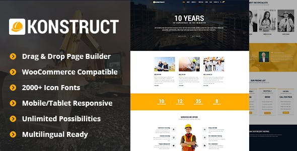 Konstruct - Construction WordPress Theme for Construction, Building and Renovation Business