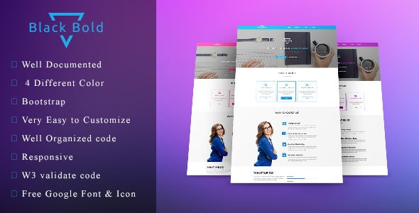 Black Bold - One page agency / startup template - Corporate Site Templates