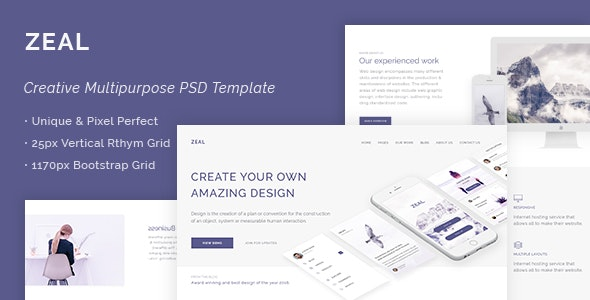 Zeal - Creative Multi Purpose PSD Template - Corporate PSD Templates