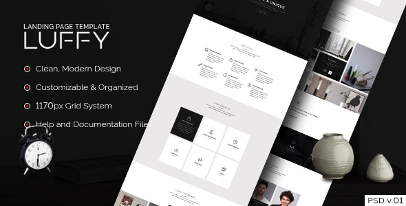 Luffy - Landing Page PSD Template - Corporate Photoshop
