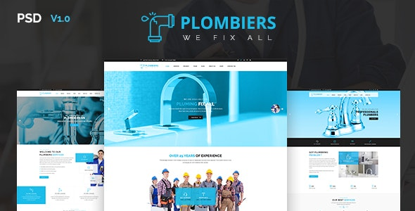 Plombiers - Plumber, Repair Services PSD Template - Business Corporate