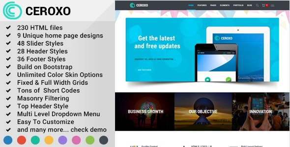 Ceroxo Bootstrap Responsive Multi Purpose Html5 Template By Owltemplates