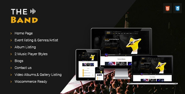 TheBand Music Band Html Template - Music and Bands Entertainment