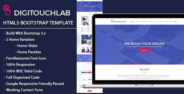 DIGITOUCHLAB HTML5 BootStrap Template - Technology Landing Pages