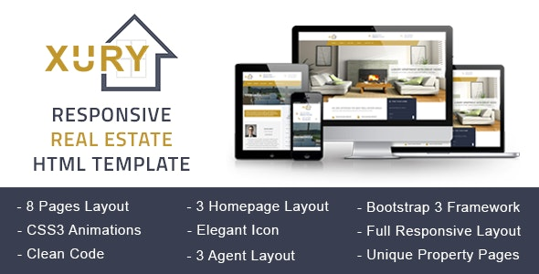 XURY - Real Estate Responsive HTML Template - Business Corporate