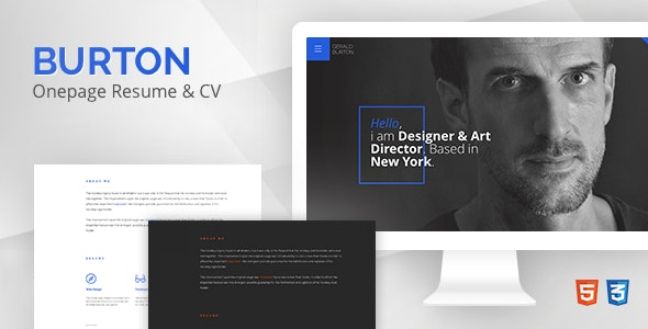 Burton – One Page Resume & CV Template - Personal Site Templates