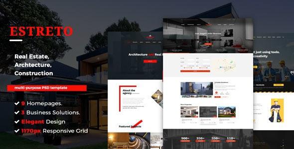 Estreto - Architecture & Construction PSD Template - Business Corporate