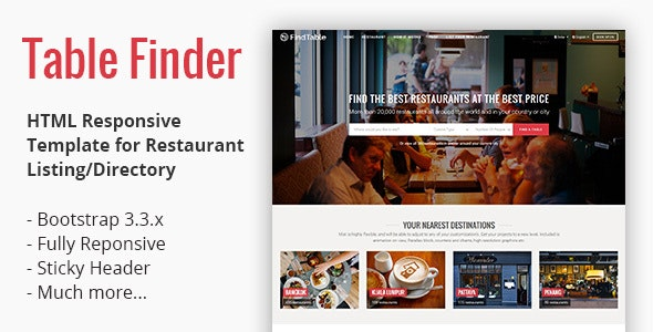 Table Finder - Responsive HTML Template for Restaurant Listing - Food Retail