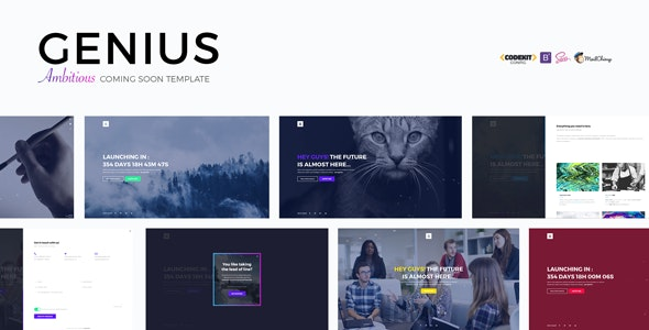 GENIUS - Ambitious Coming Soon Template - Under Construction Specialty Pages
