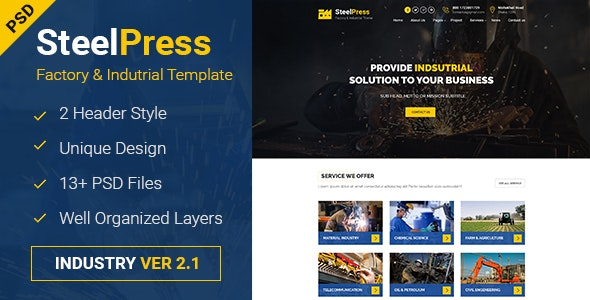 SteelPress - Industrial & Factory Business PSD Template - Business Corporate