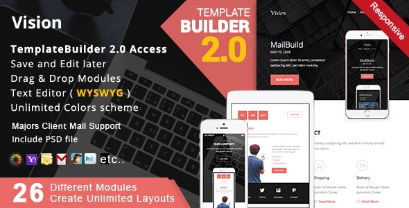 Vision - Responsive Email + MailBuild Online - Newsletters Email Templates