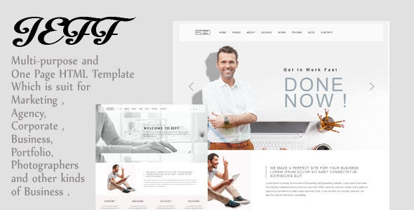 Jeff - OnePage and Multipage Creative , Corporate Agency, Business and Portfolio  HTML Template - Creative Site Templates