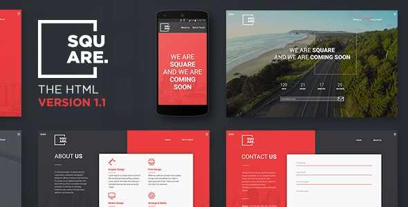 Square - Creative Coming Soon Template v1.1 - Under Construction Specialty Pages