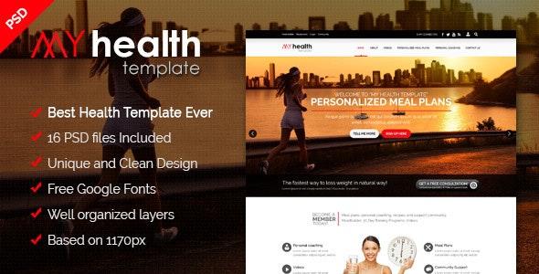 MY HEALTH - Best Health / Diet & Fitness PSD Template - Photoshop UI Templates