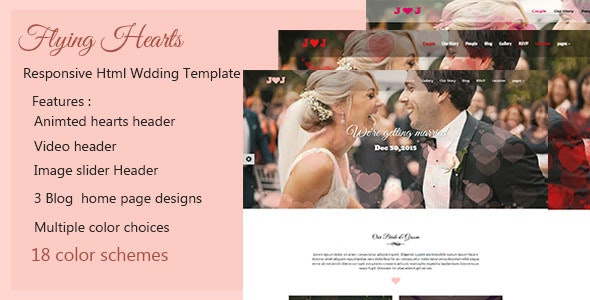Flying Hearts- Responsive HTML Wedding Template - Wedding Site Templates