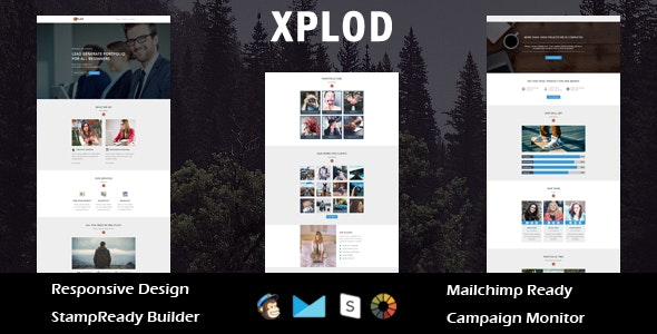 XPLOD- Multipurpose Responsive Email Template + Stamp Ready Builder Online Access - Email Templates Marketing