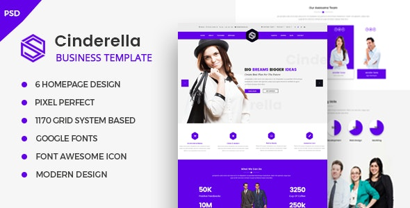 Cinderella - Business Corporate PSD Template - Corporate PSD Templates