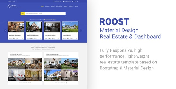 Roost Material Design Real Estate + Dashboard - Corporate Site Templates