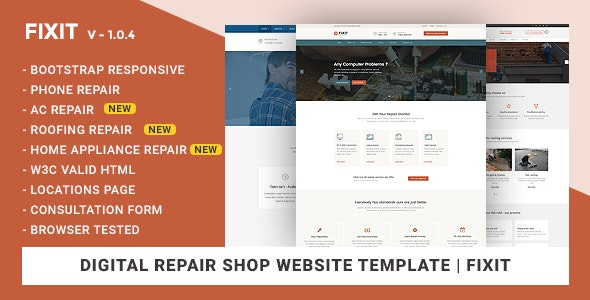 Phone, Computer Repair Shop Website Template | Fixit - Computer Technology