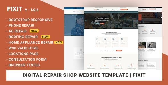 Phone, Computer Repair Shop Website Template | Fixit