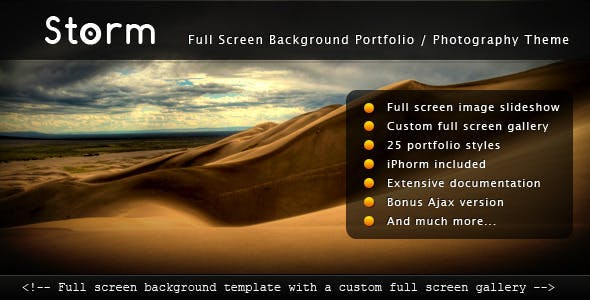 Storm - Full Screen Background Template by ThemeCatcher