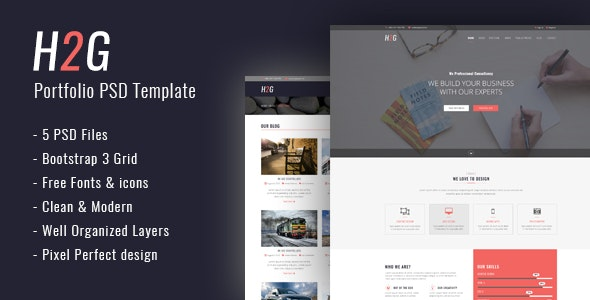H2G - One Page PSD Template - Corporate PSD Templates
