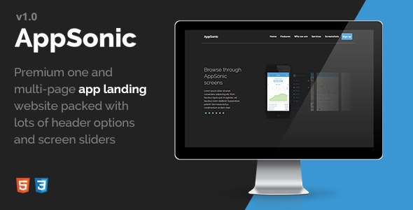 AppSonic - Clean HTML Business App Landing Page for iPhone, Windows Phone and Android Devices - Apps Technology