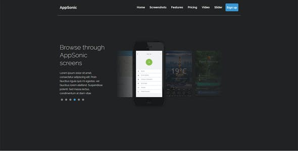 AppSonic - Clean HTML Business App Landing Page for iPhone, Windows Phone and Android Devices