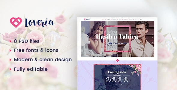 Loveria | Wedding PSD Template - Entertainment Photoshop