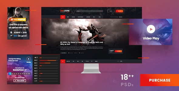 Red Zone - Game PSD Template (Blog, Review, Portal, Community) - Entertainment Photoshop