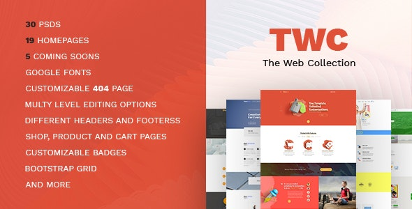 The Web Collection-Landing/One Page Multipurpose PSD Template - Corporate Photoshop