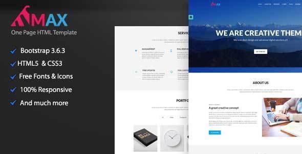Max Onepage Creative HTML Template - Creative Site Templates