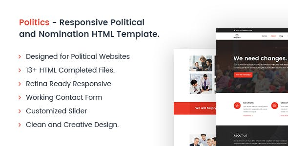 Politics - Responsive Political and Nomination HTML Template