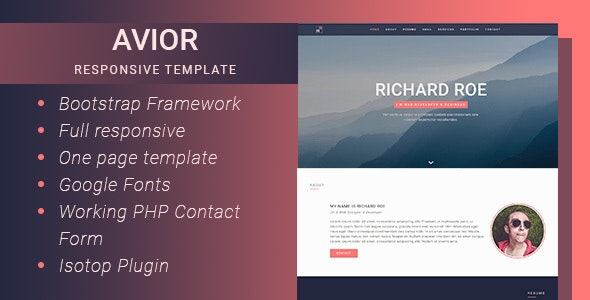 Avior - Responsive Portfolio Template - Personal Site Templates