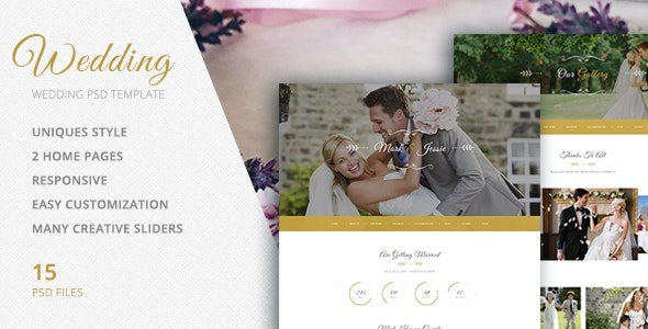 PSD Template for Wedding Events, Organizer, Photo Sessions - Events Entertainment
