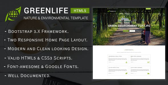 Greenlife - Nature & Environmental Non-Profit HTML5 Template