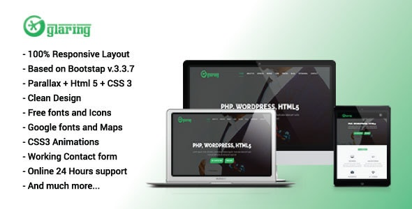 Glaring - HTML5 One Page Portfolio Template - Portfolio Creative
