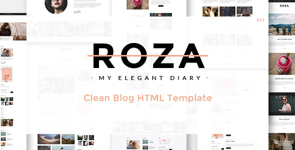 Roza - Clean Blog HTML Template - Personal Site Templates