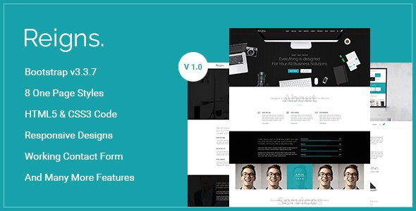 Reigns - Professional One Page HTML5 Templates - Corporate Site Templates