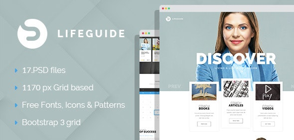 LifeGuide - Personal Page PSD Template - Personal Photoshop